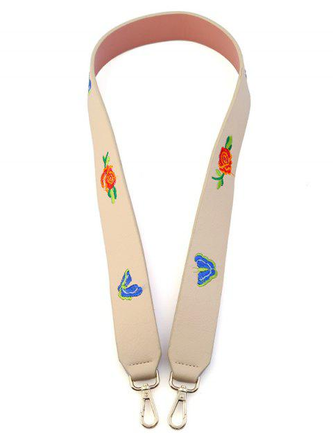 latest Butterfly Flower Embroidery Bag Shoulder Strap - OFF-WHITE  Mobile