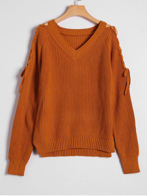 Pullover mit seitlichem Schlitz , Schnürsenkel und V Ausschnitt - Heller Kaffee Eine Größe Mobile
