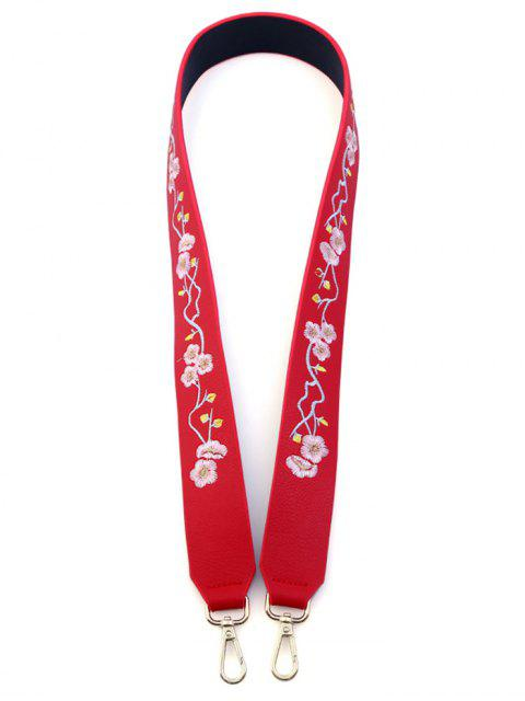 chic Wintersweet Embroidery PU Bag Strap - RED  Mobile