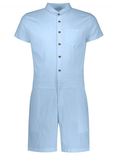 lady Short Sleeve Single Breasted Romper - LIGHT BLUE XL Mobile