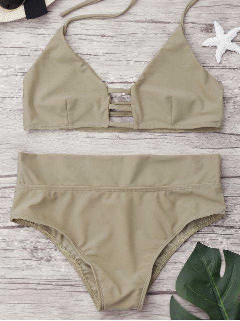 unique Unlined High Waist Bikini Set - APRICOT M Mobile