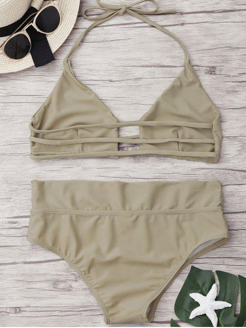 sale Unlined High Waist Bikini Set - APRICOT S Mobile