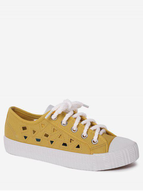 shops Canvas Breathabe Hollow Out Athletic Shoes - YELLOW 40 Mobile