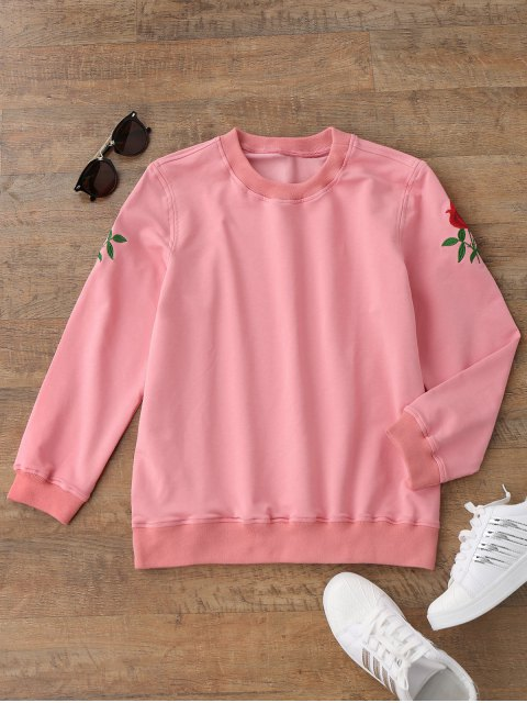 shop Casual Floral Embroidered Pullover Sweatshirt - PINK L Mobile