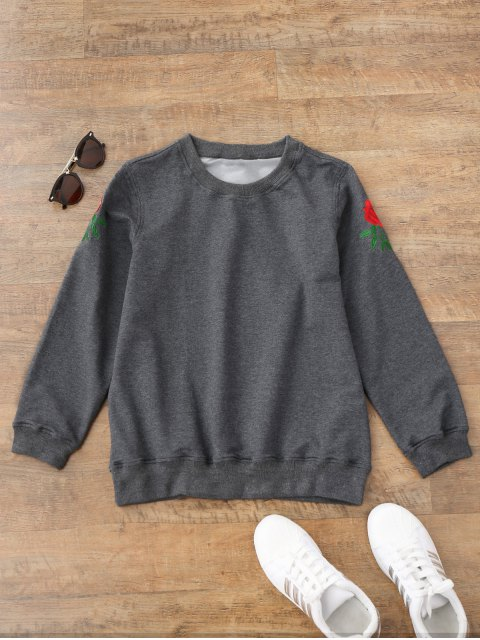 fashion Casual Floral Embroidered Pullover Sweatshirt - GRAY M Mobile