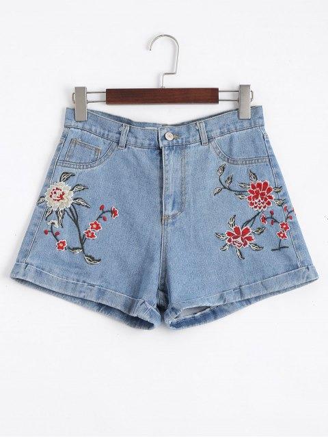 Pantalones cortos bordados floral de Jean alto de la cintura - Denim Blue 38 Mobile