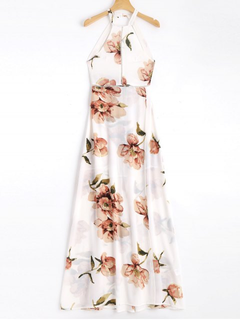 women Bowknot Floral Sheer Cut Out Maxi Dress - FLORAL S Mobile