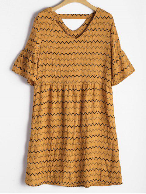 best Flare Sleeve Cut Out Zigzag Dress - EARTHY XL Mobile