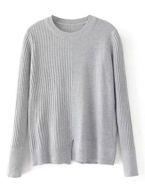 lady Loose Front Slit Crew Neck Sweater - GRAY ONE SIZE Mobile