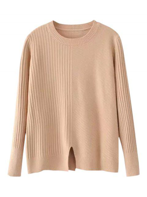 new Loose Front Slit Crew Neck Sweater - KHAKI ONE SIZE Mobile