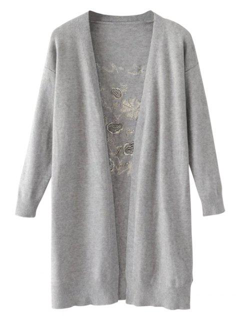 sale Long Open Front Embroidered Cardigan - GRAY ONE SIZE Mobile