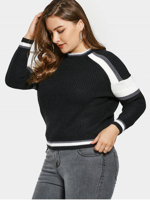 Übergröße Pullover mit Farbblock - Schwarz Eine Größe Mobile