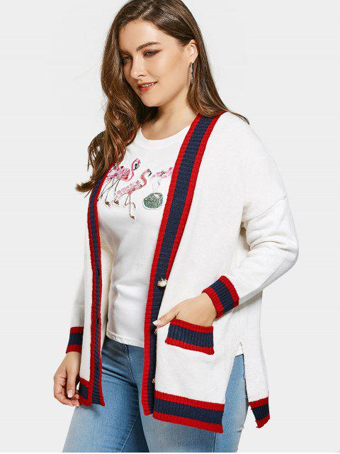 Cardigan Contrastant Grande Taille - Blanc Taille Unique Mobile