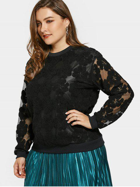 trendy Plus Size Mesh Flower Sweatshirt - BLACK 2XL Mobile