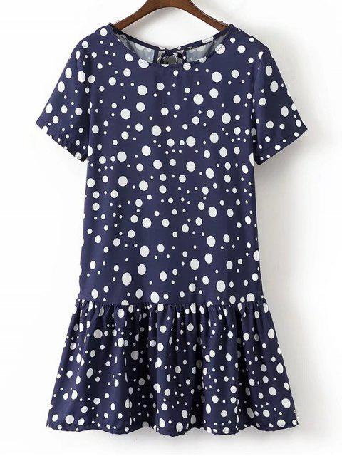 Robe Courte Volantée à Pois à Noeud Papillon - Bleu Violet S Mobile