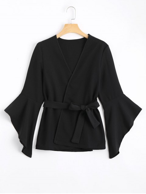 shop Belted Asymmetrical Flare Sleeve Balzer - BLACK S Mobile