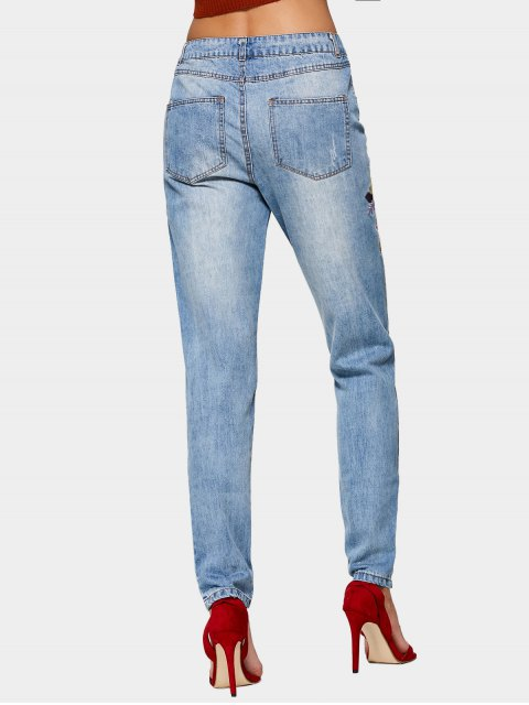 chic Destroyed Floral Embroidered Pencil Jeans - DENIM BLUE XS Mobile