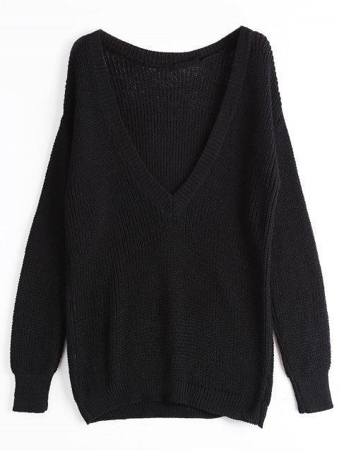 Suéter con cuello en V grueso y suelto - Negro Talla única Mobile