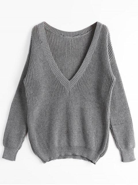 new Loose Chunky V Neck Sweater - GRAY ONE SIZE Mobile