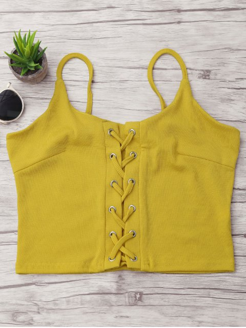 affordable Ribbed Lace-up Camis - YELLOW L Mobile