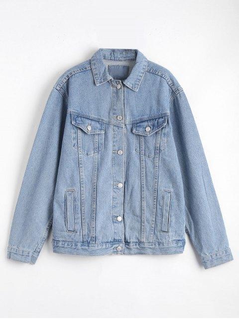 hot Button Up Denim Jacket with Pockets - DENIM BLUE M Mobile