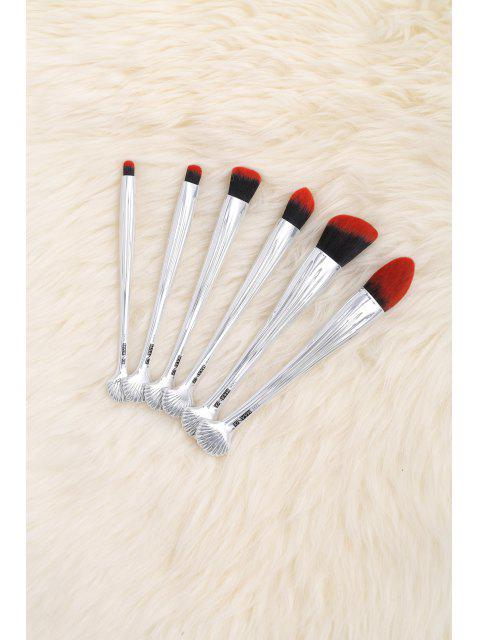 outfits 6Pcs Multipurpose Plating Shell Facial Makeup Brushes - BLACK RED  Mobile