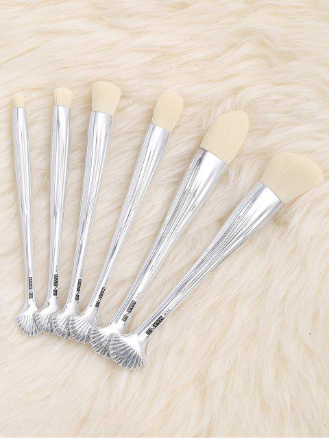 outfit 6Pcs Multipurpose Plating Shell Facial Makeup Brushes - WHITE  Mobile