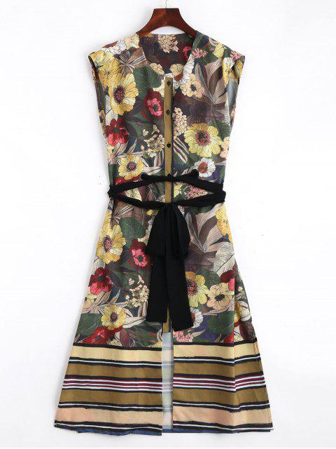 best Belted Button Up Floral Midi Dress - FLORAL L Mobile