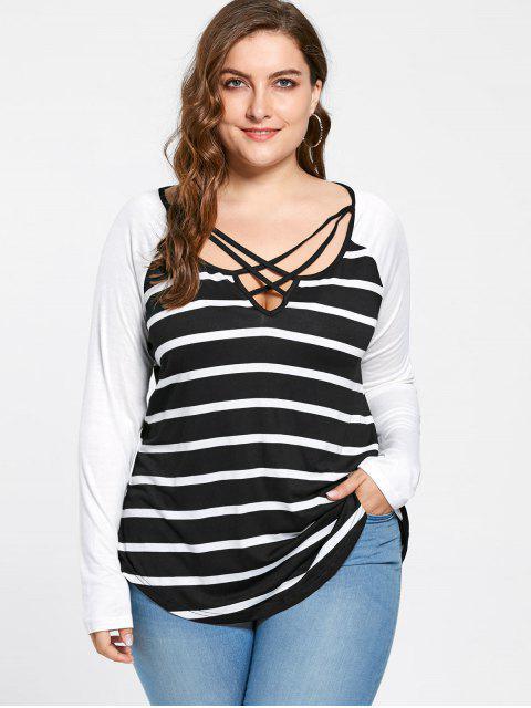 T-shirt en Jersey Rayé à Col Croisé Grande Taille - Blanc-Noir 4XL Mobile