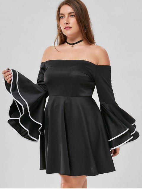 Robe Grande Taille à Manches Évasées Et à Épaules Dénudées - Noir XL Mobile