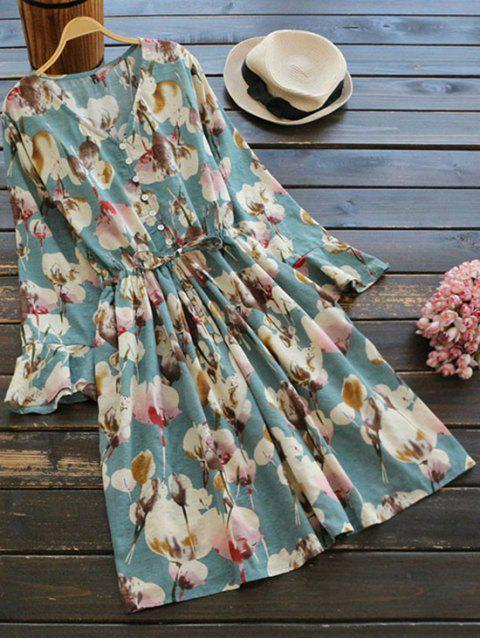 outfits Floral Print Button Embellished Drawstring Dress - FLORAL ONE SIZE Mobile