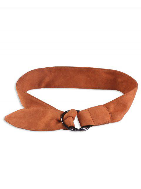 womens Faux Suede Metal Double Round Buckle Belt - BROWN  Mobile