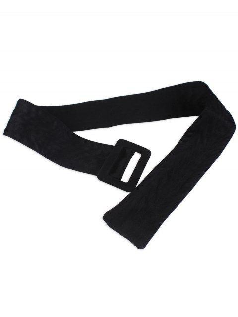 hot Faux Suede Rectangle Buckle Wide Waist Belt - BLACK  Mobile