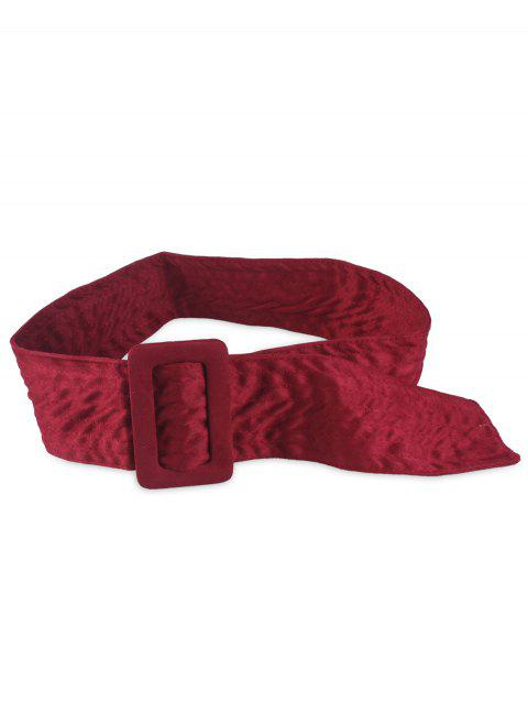 outfits Faux Suede Rectangle Buckle Wide Waist Belt - BURGUNDY  Mobile