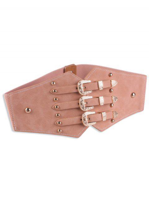 shops Metal Retro Buckles Rivet Wide Corset Belt - PINK  Mobile