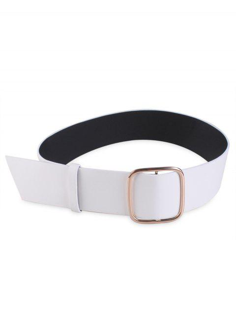 sale Wide Faux Leather Rectangle Buckle Coat Belt - WHITE  Mobile