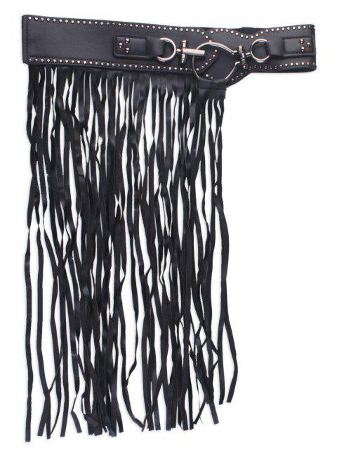 affordable Faux Leather Wide Fringed Corset Belt - BLACK  Mobile