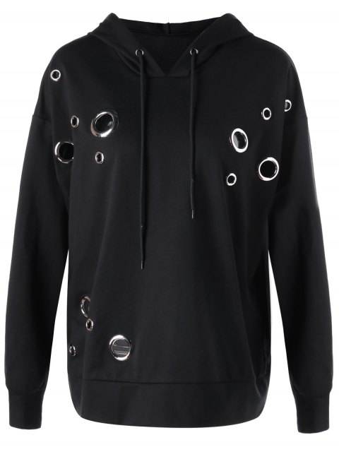 affordable Metal Ring Plus Size Hoodie - BLACK 3XL Mobile