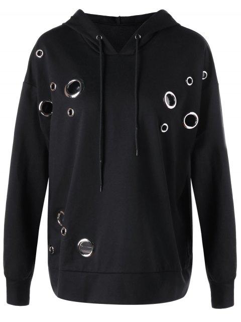 buy Metal Ring Plus Size Hoodie - BLACK 4XL Mobile