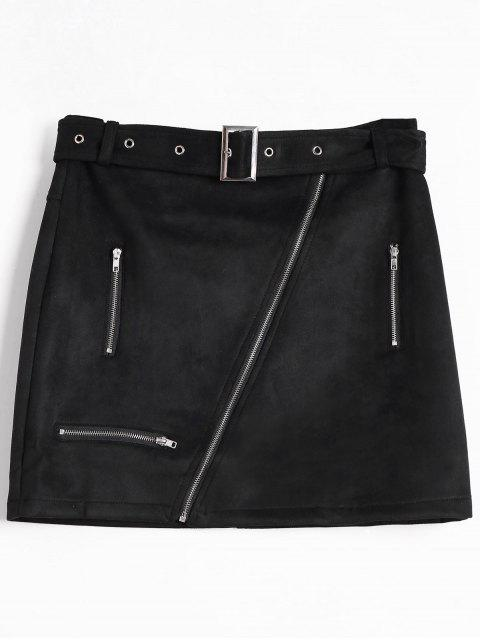 fancy Zipper Faux Suede Skirt - BLACK L Mobile