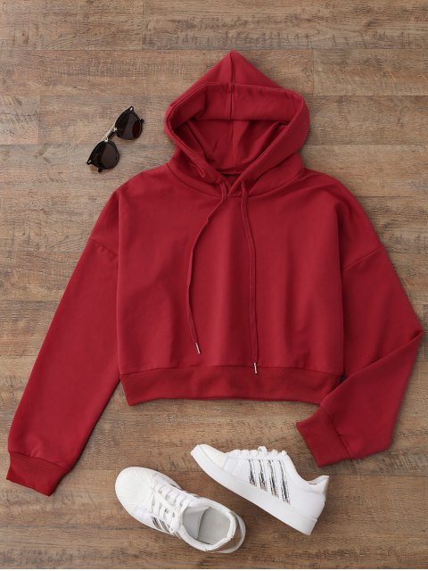 unique Drop Shoulder Cropped Hoodie - RED M Mobile