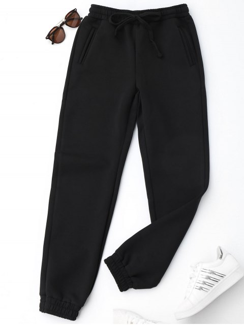 fancy Running Drawstring Jogger Pants - BLACK L Mobile
