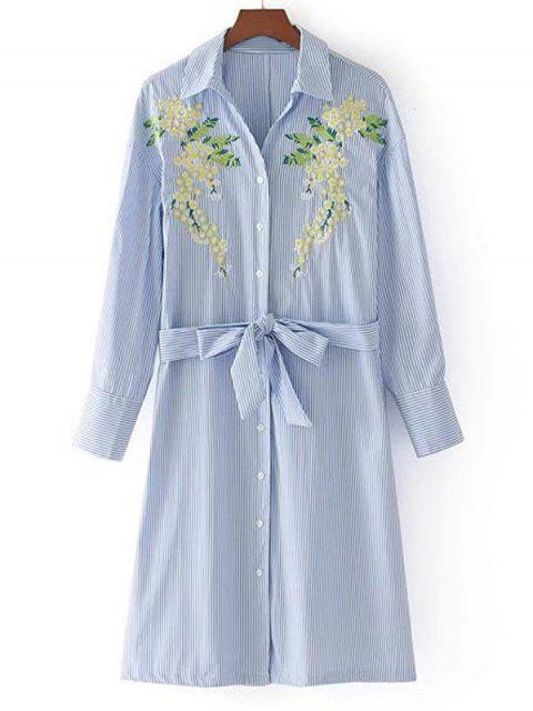 fashion Belted Stripes Embroidered Shirt Dress - STRIPE S Mobile
