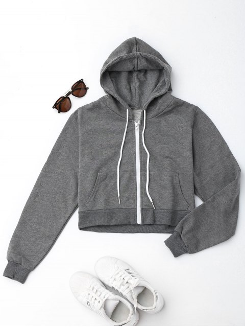 buy Front Pockets Cropped Zip Up Hoodie - GRAY L Mobile