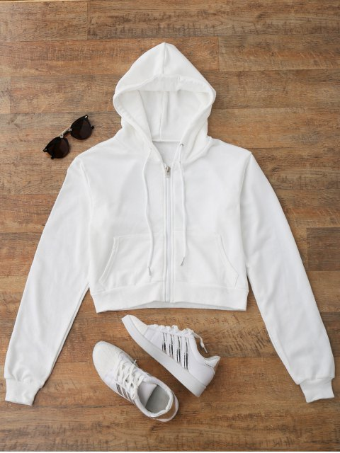 unique Front Pockets Cropped Zip Up Hoodie - WHITE M Mobile