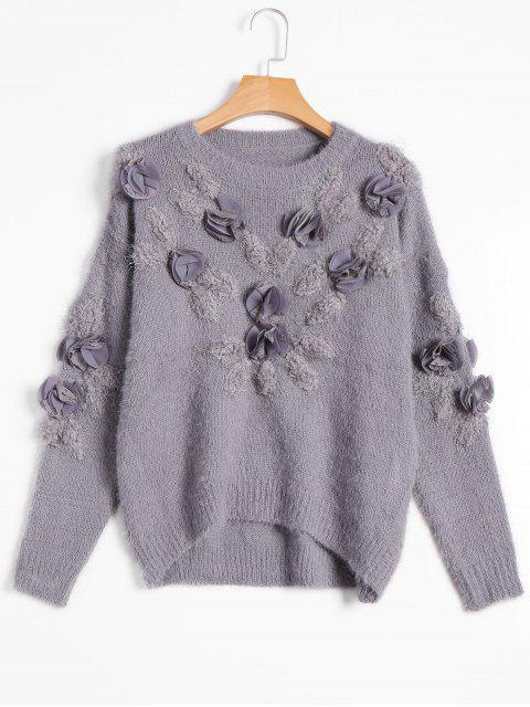 outfits Patched Fuzzy Bowknot Applique Sweater - GRAY ONE SIZE Mobile