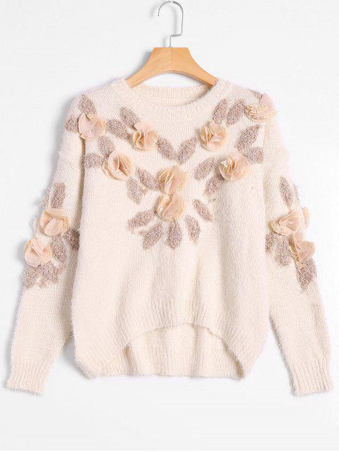 shop Patched Fuzzy Bowknot Applique Sweater - OFF-WHITE ONE SIZE Mobile