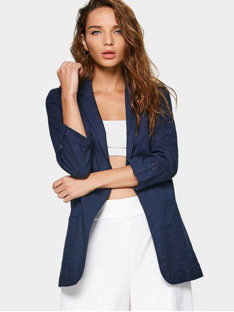 lady Linen Lapel Open Front Blazer - PURPLISH BLUE L Mobile