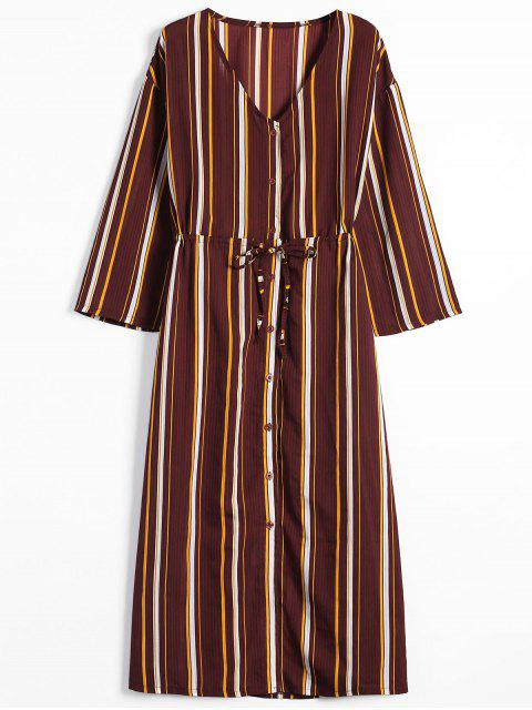 trendy Long Sleeve Button Up Stripes Maxi Dress - STRIPE L Mobile