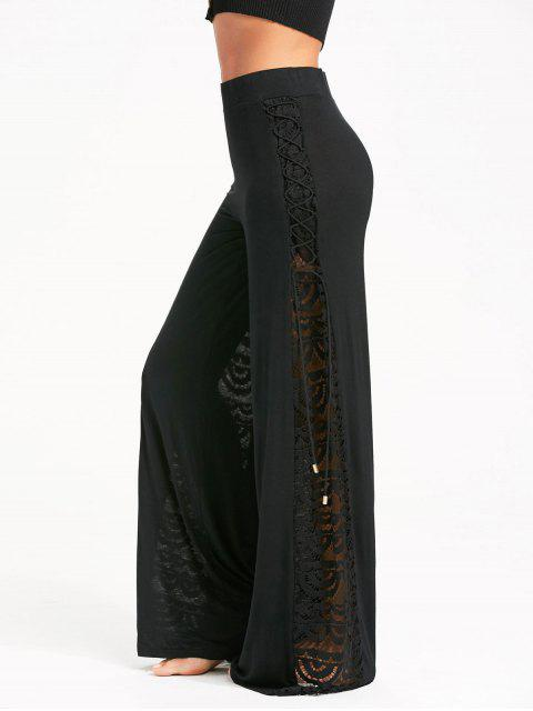 online Criss Cross and Lace Panel Palazzo Pants - BLACK M Mobile